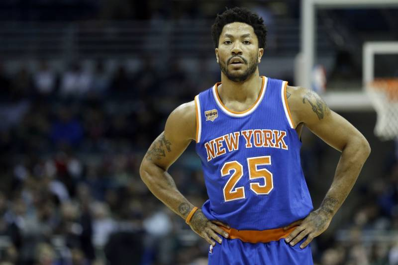 6966db11c4a2 New York Knicks  Derrick Rose during the first half of an NBA basketball  game against