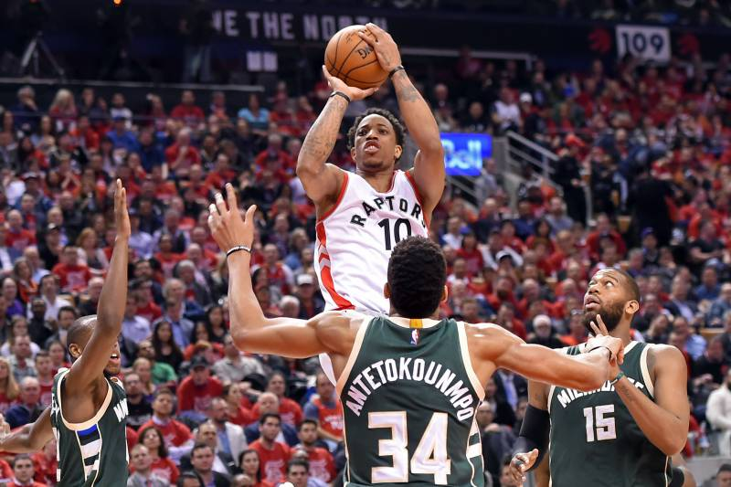 Image result for demar derozan vs bucks 2017 playoffs