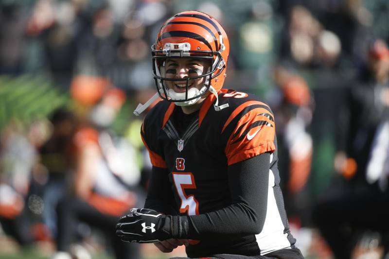 Cincinnati Bengals Quarterback Aj Mccarron Practices Before An Nfl Football Game Against The Baltimore Ravens
