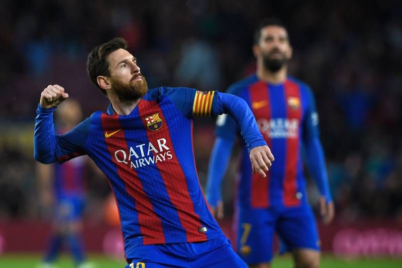 771b49b7ef9 Barcelona s Argentinian forward Lionel Messi celebrates after scoring a  goal during the Spanish league football match
