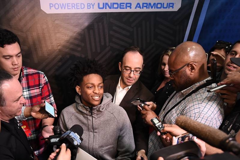 CHICAGO, IL - MAY 12:  De'Aaron Fox speaks to reporters during Day Two of the NBA Draft Combine at Quest MultiSport Complex on May 12, 2017 in Chicago, Illinois.  NOTE TO USER: User expressly acknowledges and agrees that, by downloading and or using this photograph, User is consenting to the terms and conditions of the Getty Images License Agreement.  (Photo by Stacy Revere/Getty Images)