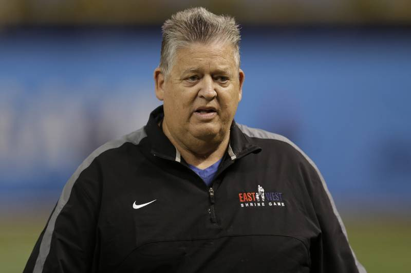 East head coach Charlie Weis during the East West Shrine football game Saturday, Jan. 23, 2016, in St. Petersburg, Fla. [AP Photo/Chris O'Meara)