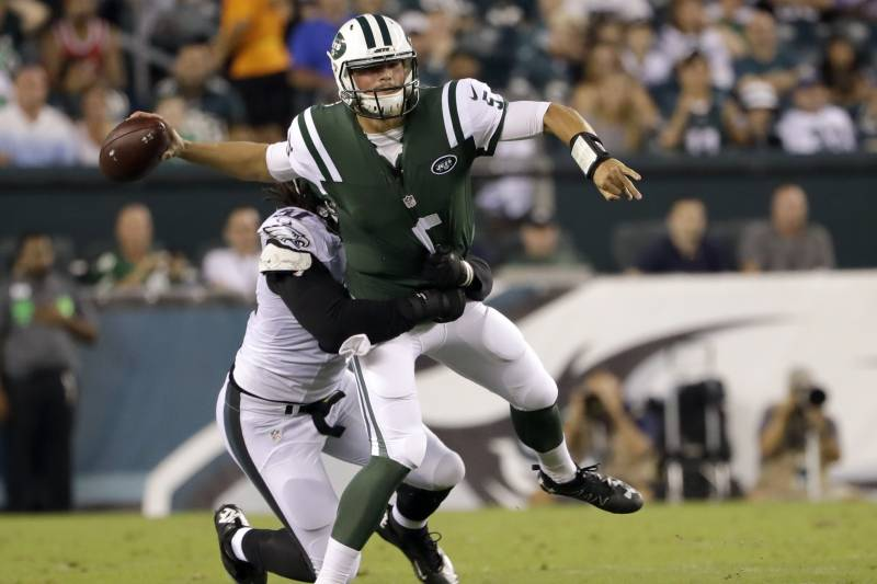 c1ad9dfa4d3 New York Jets' Christian Hackenberg is tackled by Philadelphia Eagles'  Steven Means during the