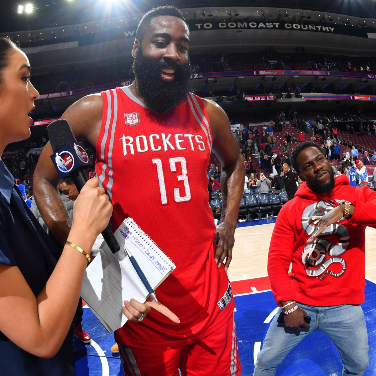 8ceaa6050 Kevin Hart Recalls Trash-Talking James Harden into 50-Point Effort vs.  Sixers