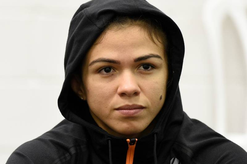 RIO DE JANEIRO, BRAZIL - JUNE 03:  Claudia Gadelha of Brazil relaxes in her locker room prior to her bout against Karolina Kowalkiewicz of Poland during the UFC 212 event at Jeunesse Arena on June 3, 2017 in Rio de Janeiro, Brazil. (Photo by Mike Roach/Zuffa LLC/Zuffa LLC via Getty Images)
