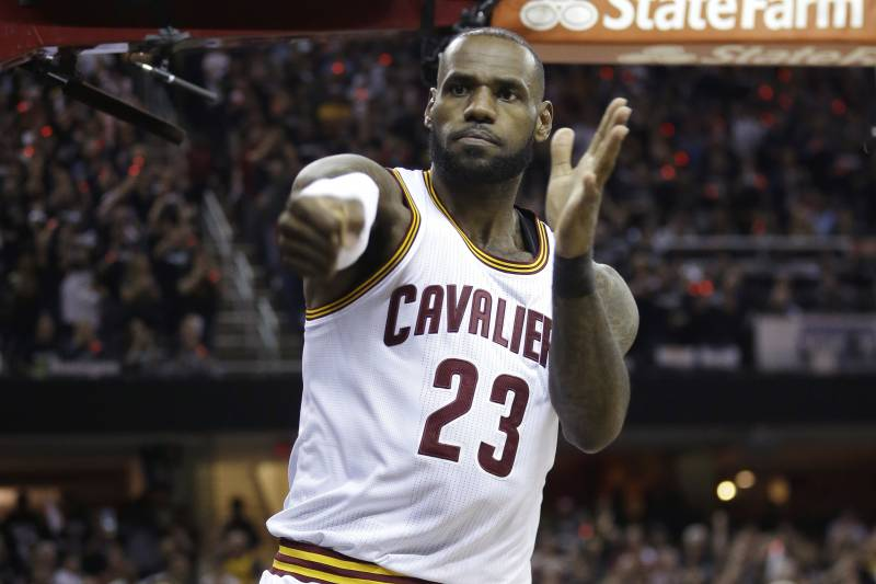 Cleveland Cavaliers forward LeBron James (23) reacts during the first half against the Golden State Warriors in Game 4 of basketball's NBA Finals in Cleveland, Friday, June 9, 2017. (AP Photo/Tony Dejak)