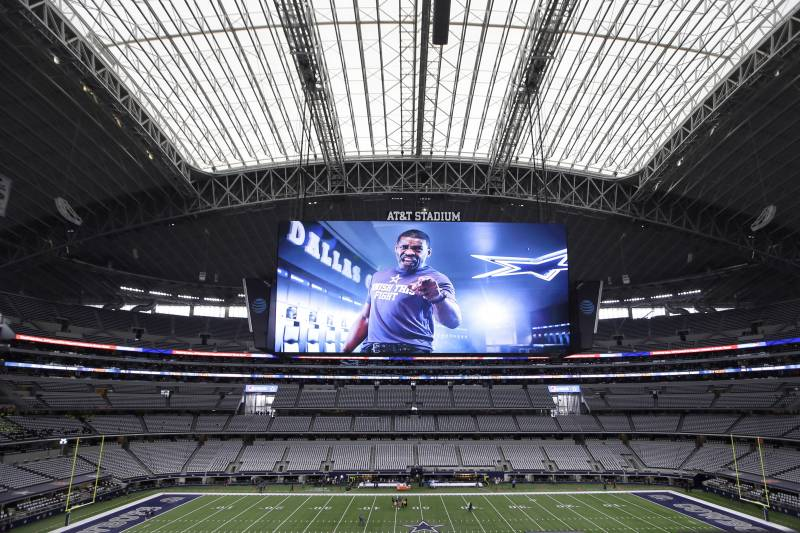 AT&T Stadium is shown before an NFL divisional playoff football game, Sunday, Jan. 15, 2017, in Arlington, Texas. (AP Photo/LM Otero)