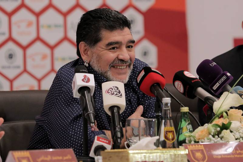 Former Argentinian footballer and manager Diego Armando Maradona holds a press conference where he was announced as the upcoming manager for second-division Emirati football club Fujairah FC, in the Gulf emirate of Fujairah on May 14, 2017. / AFP PHOTO / STRINGER        (Photo credit should read STRINGER/AFP/Getty Images)