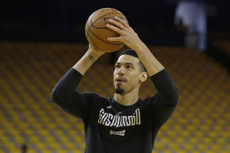 San Antonio Spurs guard Danny Green warms up before Game 1 of the NBA basketball Western Conference finals between the Golden State Warriors and the Spurs in Oakland, Calif., Sunday, May 14, 2017. (AP Photo/Jeff Chiu)