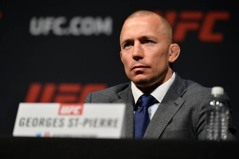 LAS VEGAS, NV - MARCH 03: Georges St-Pierre speaks to the media during the UFC press conference at T-Mobile arena on March 3, 2017 in Las Vegas, Nevada. (Photo by Brandon Magnus/Zuffa LLC/Zuffa LLC via Getty Images)