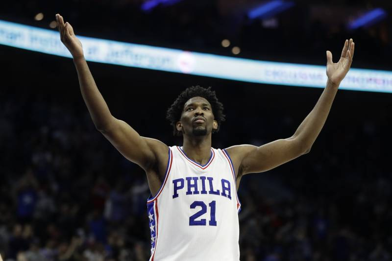 Philadelphia 76ers' Joel Embiid in action during an NBA basketball game against the Houston Rockets, Friday, Jan. 27, 2017, in Philadelphia. (AP Photo/Matt Slocum)