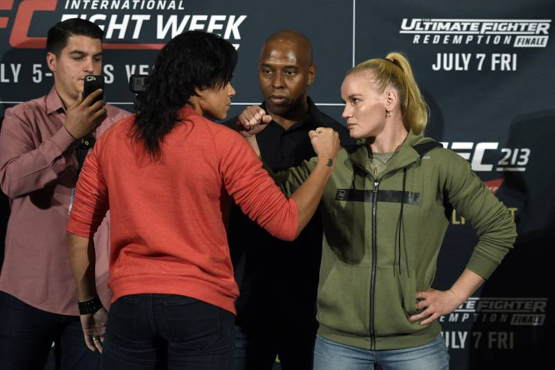 LOS ANGELES, CA - JUNE 29: Amanda Nunes (L), UFC bantamweight champion, poses with her belt as she faces face off with challenger Valentina Shevchenko during the UFC International Fight Week Media Day June 29, 2017, in Los Angeles, California. (Photo by Kevork Djansezian/Zuffa LLC via Getty Images)
