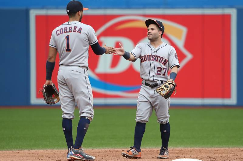 f4ac5ed38fb963 TORONTO, ON - JULY 9: Carlos Correa #1 of the Houston Astros celebrates