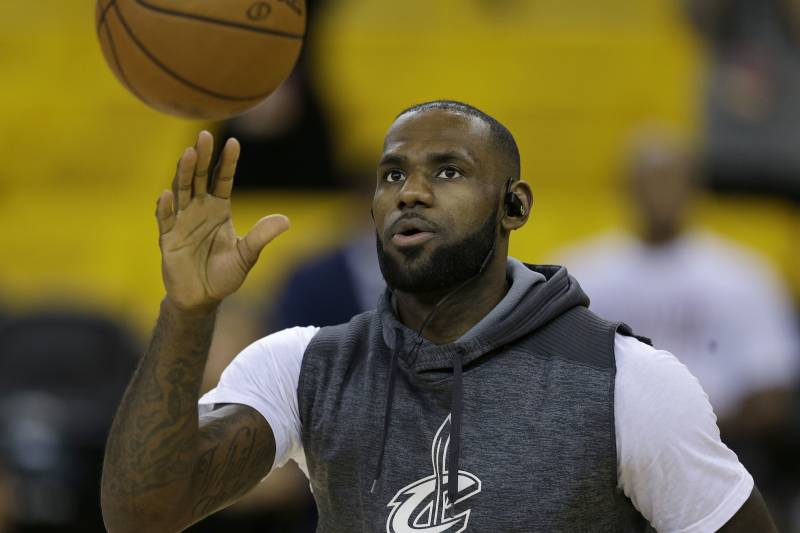 75b67df1c344 Cleveland Cavaliers forward LeBron James warms up before Game 2 of  basketball s NBA Finals against the
