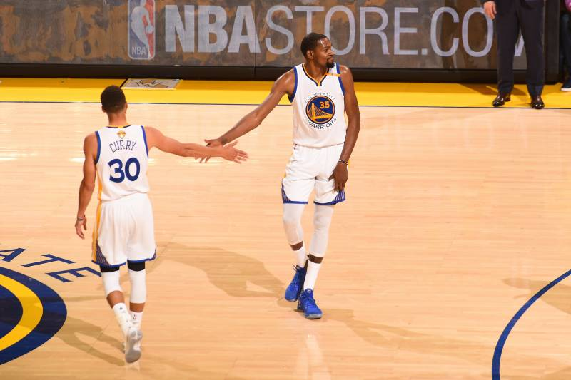huge discount c8df1 184ad OAKLAND, CA - JUNE 12  Stephen Curry  30 and Kevin Durant  35