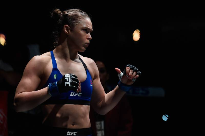 LAS VEGAS, NV - DECEMBER 30: Ronda Rousey prepares to face Amanda Nunes in their UFC bantmaweight championship bout during the UFC 207 event at T-Mobile Arena on December 30, 2016 in Las Vegas, Nevada. (Photo by Brandon Magnus/Zuffa LLC/Zuffa LLC via Getty Images)