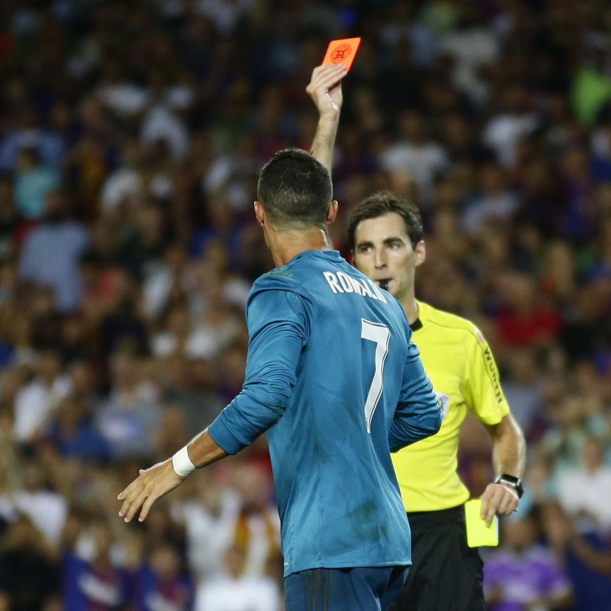Cristiano Ronaldo Shoves Official After Being Sent Off vs. Barcelona ... 959b3585c