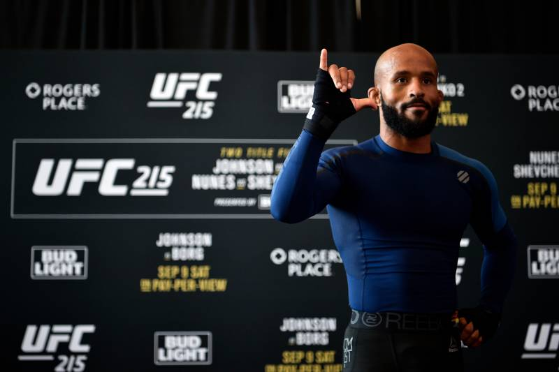 EDMONTON, AB - SEPTEMBER 07: UFC flyweight champion Demetrious Johnson holds an open workout session for fans and media at Rogers Place on September 7, 2017 in Edmonton, Alberta, Canada. (Photo by Jeff Bottari/Zuffa LLC/Zuffa LLC via Getty Images)
