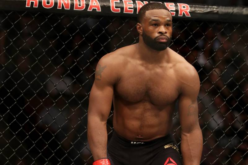 ANAHEIM, CA - JULY 29: Tyron Woodley stands in the Octagon prior to his UFC welterweight championship bout against Demian Maia of Brazil during the UFC 214 event at Honda Center on July 29, 2017 in Anaheim, California. (Photo by Christian Petersen/Zuffa LLC/Zuffa LLC via Getty Images)