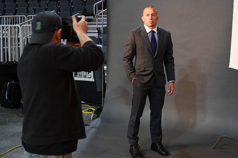LAS VEGAS, NV - MARCH 03: Georges St-Pierre of Canada poses backstage for a portrait prior to the UFC press conference at T-Mobile arena on March 3, 2017 in Las Vegas, Nevada. (Photo by Jeff Bottari/Zuffa LLC/Zuffa LLC via Getty Images)