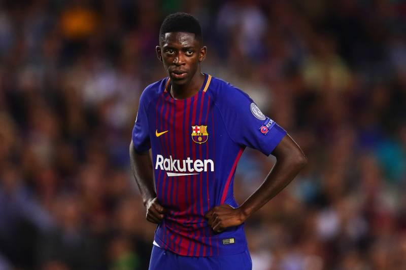 abbaf2f7586 BARCELONA, SPAIN - SEPTEMBER 12: Ousmane Dembele of FC Barcelona looks on  during the