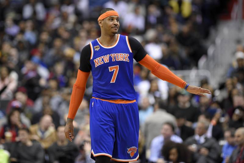 4047c9c2 New York Knicks forward Carmelo Anthony (7) looks on during the second half  of