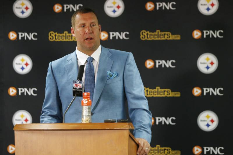 0d18f31b Pittsburgh Steelers quarterback Ben Roethlisberger talks during a news  conference after an NFL football game against