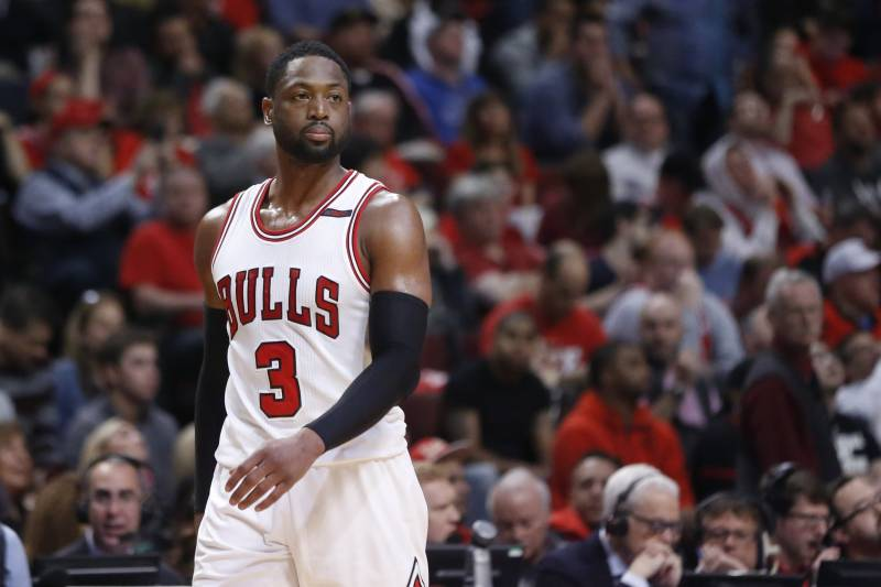 678f9204396 Chicago Bulls' Dwyane Wade walks toward the basket coming out of a break  during the