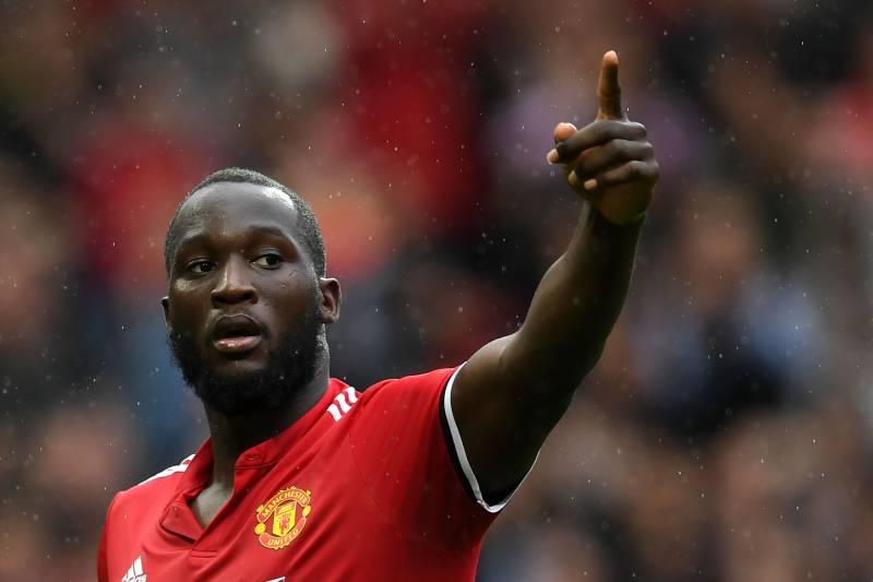 291765f3c Manchester United s Belgian striker Romelu Lukaku celebrates scoring the  team s fourth goal during the English Premier
