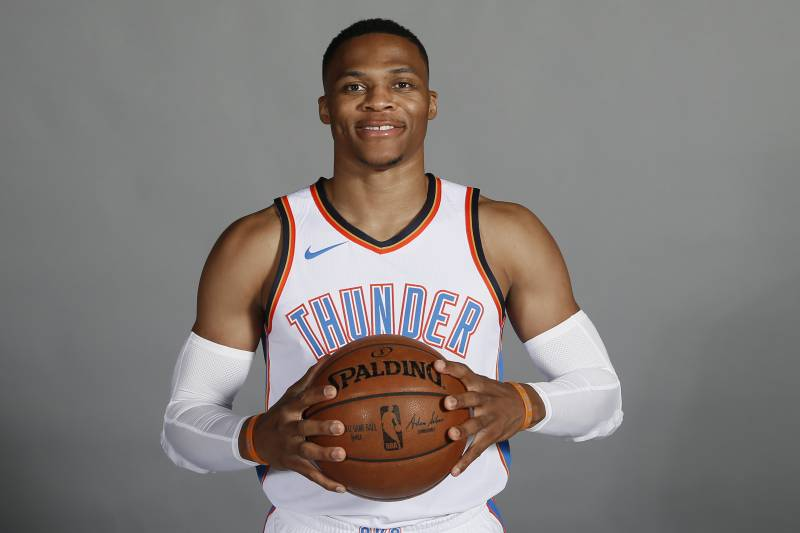 dfd3ebf31 Oklahoma City Thunder guard Russell Westbrook is pictured during an NBA  basketball media day in Oklahoma