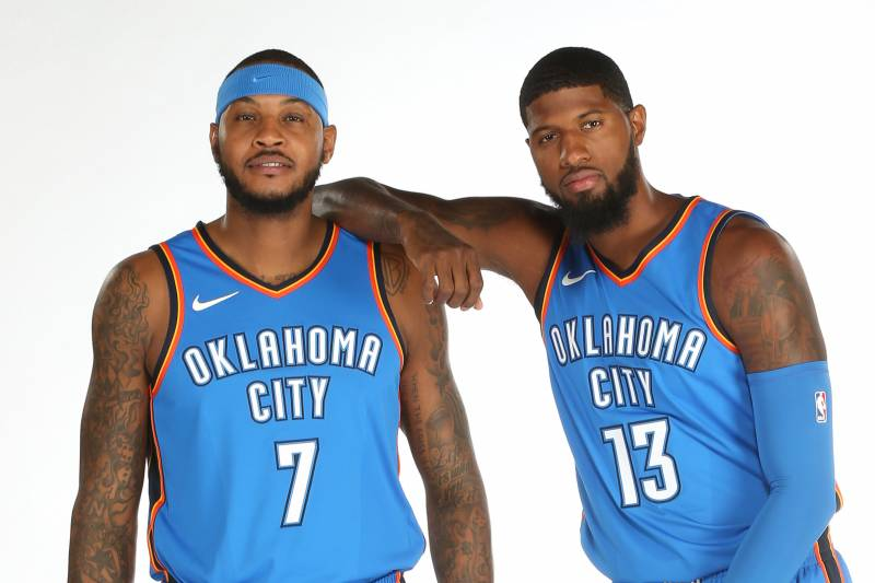finest selection 327d8 3a44d OKLAHOMA CITY, OK - SEPTEMBER 25  Carmelo Anthony  7 and Paul George