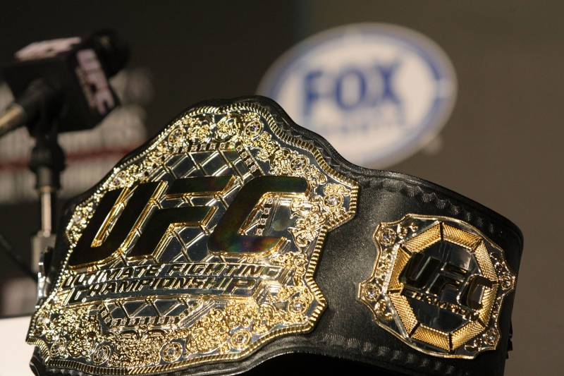 HOLLYWOOD, CA - SEPTEMBER 20: A detailed view of the UFC Championship belt prior to the UFC on Fox: Velasquez v Dos Santos - Press Conference at W Hollywood on September 20, 2011 in Hollywood, California. (Photo by Victor Decolongon/Getty Images)