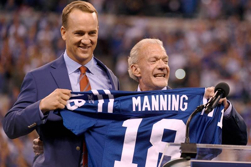 purchase cheap bb8e6 b2250 Peyton Manning's No. 18 Jersey Retired by Indianapolis Colts ...