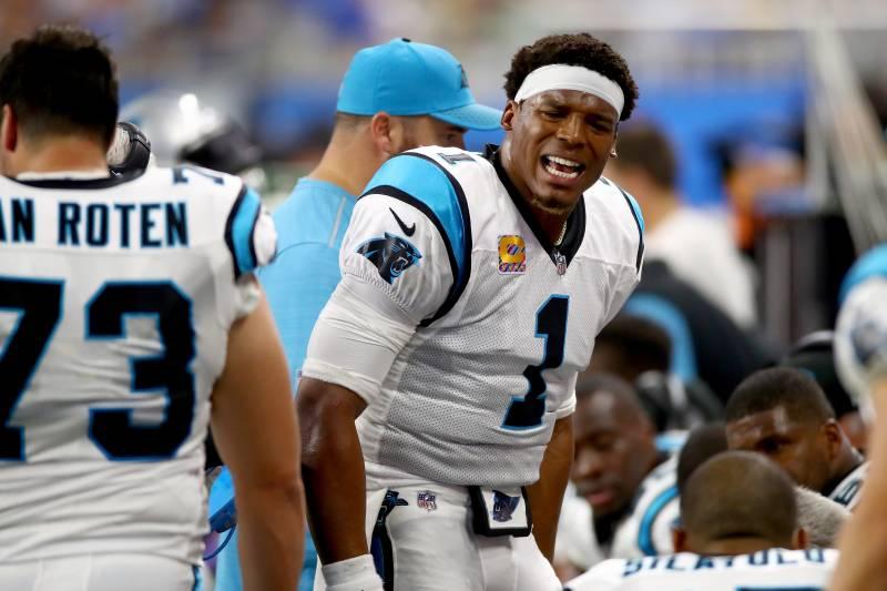 e4d06ad1 DETROIT, MI - OCTOBER 08: Quarterback Cam Newton #1 of the Carolina Panthers