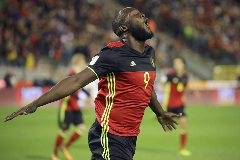 d384a4f37bb Belgium s Romelu Lukaku celebrates after scoring during the World Cup 2018  Group H qualifying soccer match