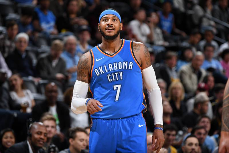 hot sale online c7561 e61ed DENVER, CO - OCTOBER 10  Carmelo Anthony  7 of the Oklahoma City Thunder.  Garrett Ellwood Getty Images. Carmelo Anthony s signature sneaker line with  Jordan ...