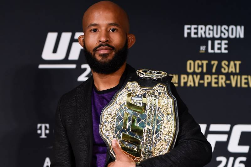 LAS VEGAS, NV - OCTOBER 07: UFC featherweight champion Demetrious Johnson poses for a picture during the UFC 216 event inside TMobile Arena on October 7, 2017 in Las Vegas, Nevada. (Photo by Brandon Magnus/Zuffa LLC/Zuffa LLC via Getty Images)