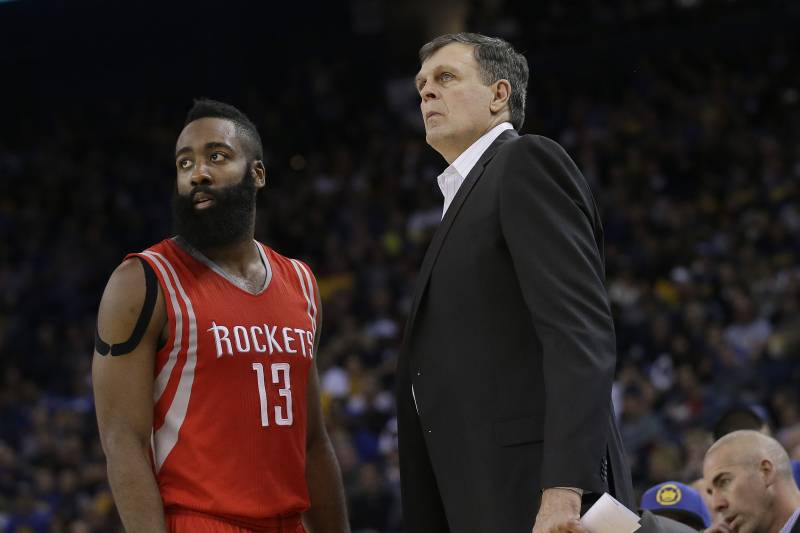 a08a2067760 Comments. Houston Rockets  James Harden (13) and head coach Kevin McHale  talk during an