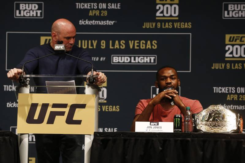 NEW YORK, NY - APRIL 27: Jon Jones speaks at a press conference with UFC president Dana White at a media availability for UFC 200 at Madison Square Garden on April 27, 2016 in New York City. (Photo by Jeff Zelevansky/Getty Images)