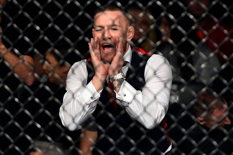 GDANSK, POLAND - OCTOBER 21: UFC lightweight champion Conor McGregor cheers on teammate Artem Lobov in his featherweight bout against Andre Fili during the UFC Fight Night event inside Ergo Arena on October 21, 2017 in Gdansk, Poland. (Photo by Jeff Bottari/Zuffa LLC/Zuffa LLC via Getty Images)
