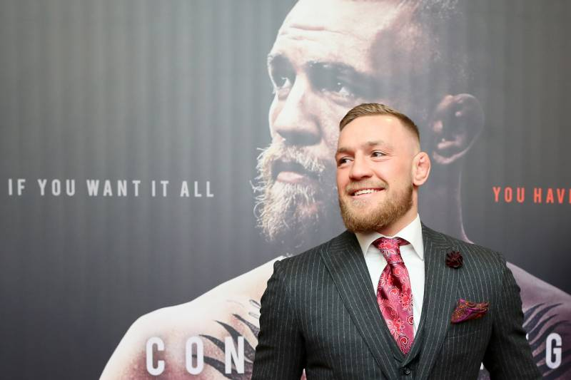 Irish mixed martial arts star Conor McGregor poses upon arrival to attend the world premiere of the documentary film 'Conor McGregor: Notorious' at the Savoy Cinema in Dublin, Ireland on November 1, 2017. / AFP PHOTO / Paul FAITH (Photo credit should read PAUL FAITH/AFP/Getty Images)
