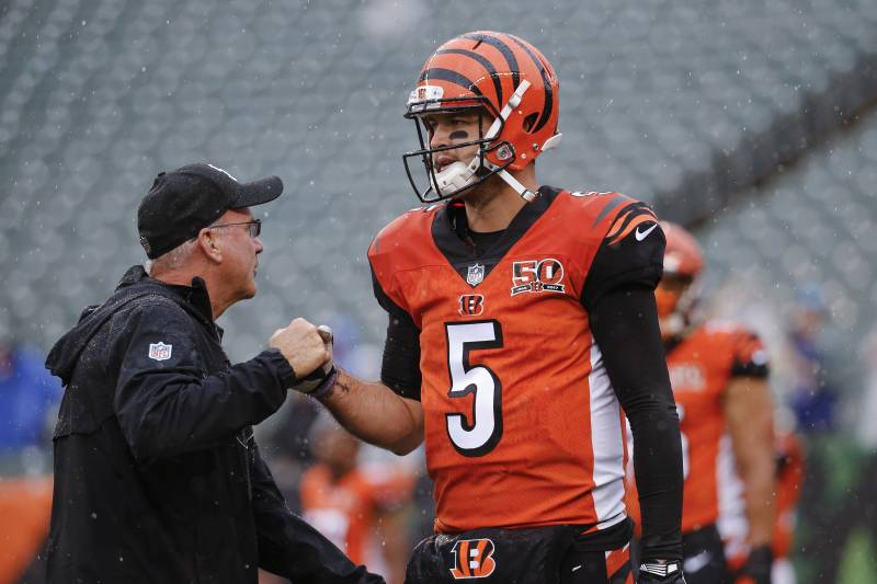 Cincinnati Bengals Quarterback Aj Mccarron Walks The Field During Practice Before An Nfl Football Game Against