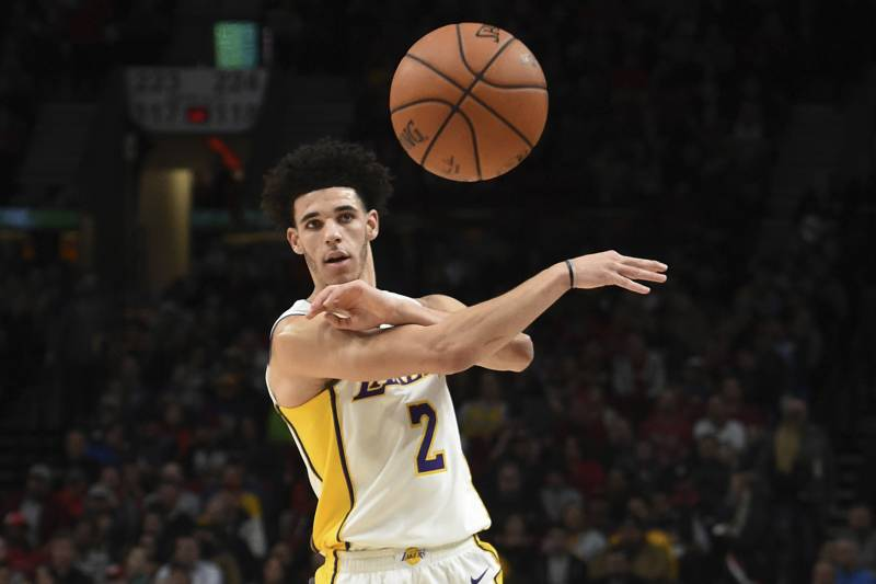 268fc2d38 Los Angeles Lakers guard Lonzo Ball passes the ball during the first  quarter of the team s