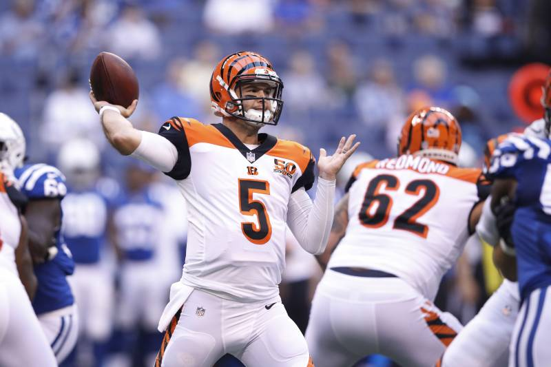 Indianapolis In August Satu Aj Mccarron Lima Of The Cincinnati Bengals Throws
