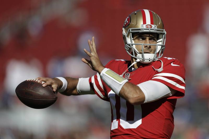 650ff1f76 San Francisco 49ers quarterback Jimmy Garoppolo (10) warms up before an NFL  football game