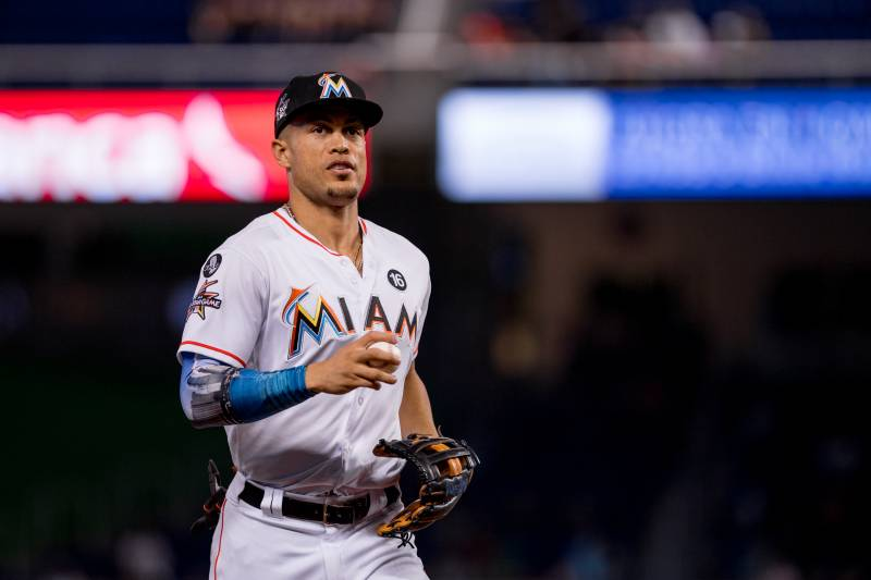 Giancarlo stanton reportedly told to accept trade or marlins will miami fl october 01 giancarlo stanton 27 of the miami marlins during malvernweather Gallery