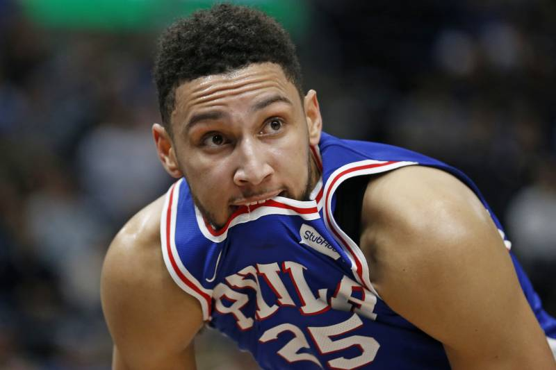 155f25b33940 Philadelphia 76ers guard Ben Simmons bites his jersey during the second half  of the team s NBA