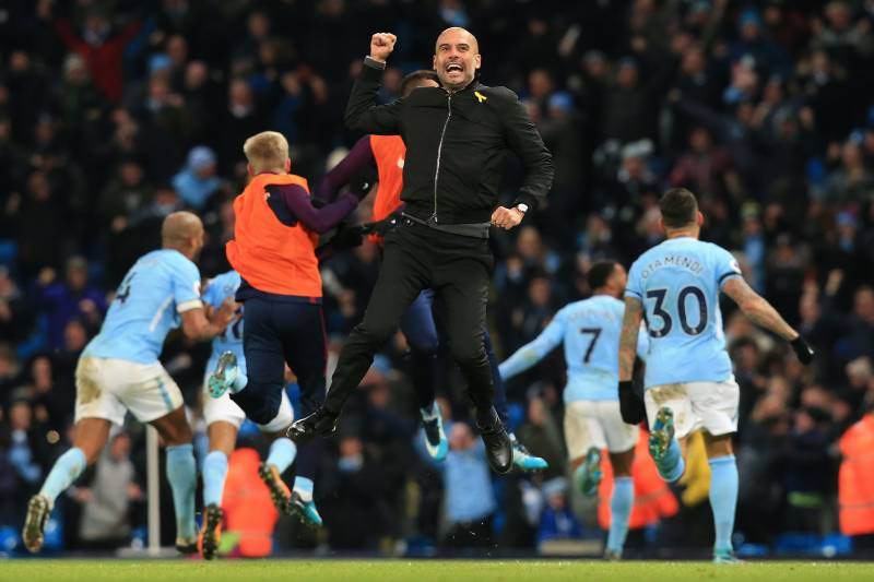Epl table 2017 week 14 standings after wednesdays premier league manchester citys spanish manager pep guardiola celebrates after manchester citys english midfielder raheem sterling scores his stopboris Choice Image