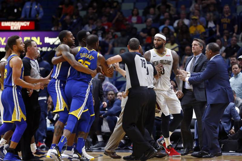 c534a92ddc67 DeMarcus Cousins Looked for Kevin Durant After Ejections