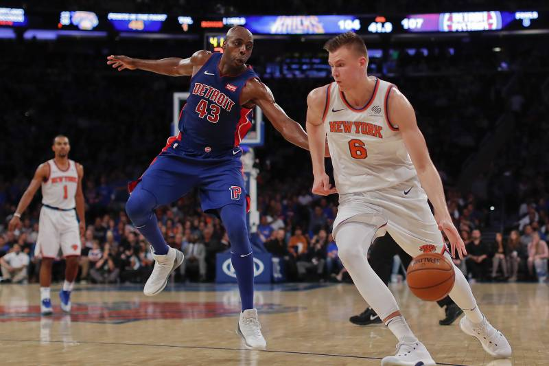 761e3bda4 New York Knicks forward Kristaps Porzingis (6) drives against Detroit  Pistons forward Anthony Tolliver